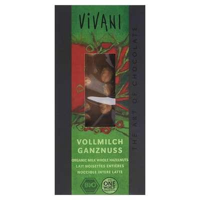 Шоколад органик молочный 26% с цельным фундуком Vivani 100 гр, фото 1