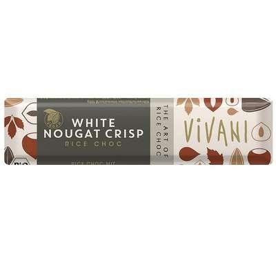 Батончик белый шоколад на рисовом молоке с нугой фундука и кусочками карамели органик Vivani 35 гр, фото 1