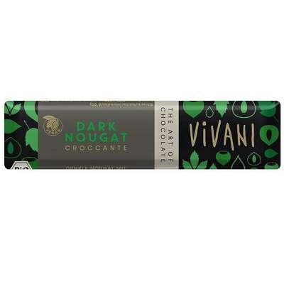 Батончик горького шоколада с нугой из фундука и хрустящим фундуком органик Vivani 35 гр, фото 1