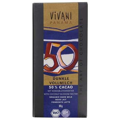 Шоколад органик темный 50% какао c добавлением молока и кокосовым сахаром Vivani 80 гр, фото 1