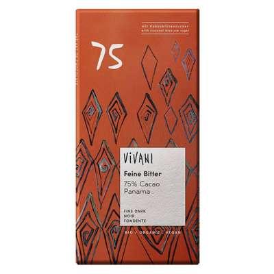 Шоколад органик горький 75% какао с кокосовым сахаром Vivani 80 гр, фото 1