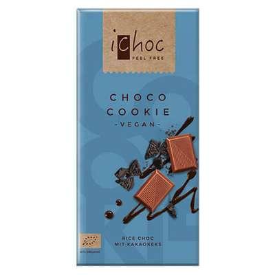 Шоколад органик веганский на рисовом молоке с шоколадным печеньем iChoc Vivani 80 гр, фото 1