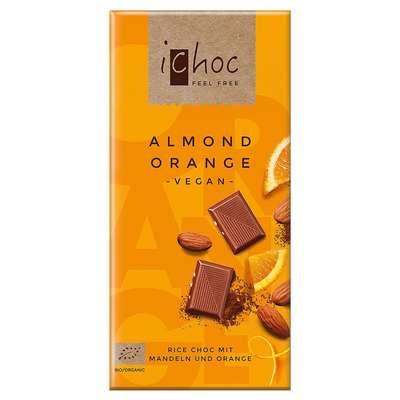 Шоколад органик веганский на рисовом молоке с дробленным миндалем и апельсином iChoc Vivani 80 гр, фото 1