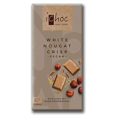 Шоколад органик веганский на рисовом молоке с нугой из фундука и кусочками карамели iChoc Vivani 80 гр, фото 2