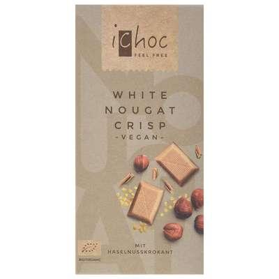 Шоколад органик веганский на рисовом молоке с нугой из фундука и кусочками карамели iChoc Vivani 80 гр, фото 1