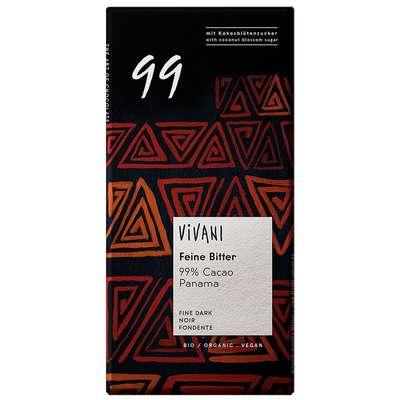 Шоколад органик горький экстра 99% какао с кокосовым сахаром Vivani 80 гр, фото 1