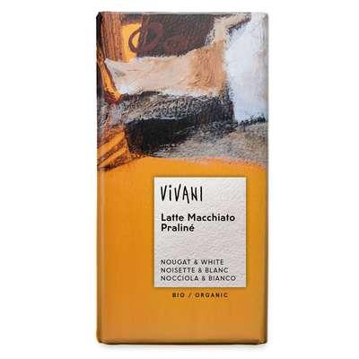 Шоколад органик белый с начинкой из молочного шоколада фундука и кофе Latte Machiato Vivani 100 гр, фото 1