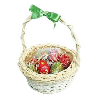 Подарочная корзина с большими пасхальными шоколадными яйцами La Suissa, фото 1