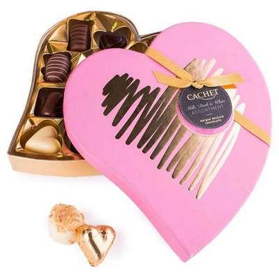 Шоколадные премиальные конфеты Heart Box Assorted Chocolates Cachet Kim's 190 гр, фото 1