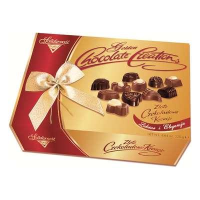 Золотое Шоколадное Творение Solidarnosc коробка конфет с бантом микс 228 гр, фото 4