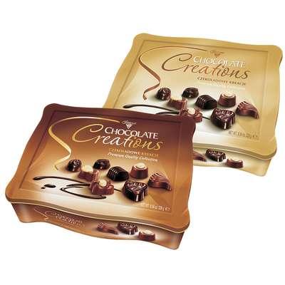 Конфеты ассорти с начинками Шоколадное Творение Solidarnosc коробка жесть 228 гр, фото 1