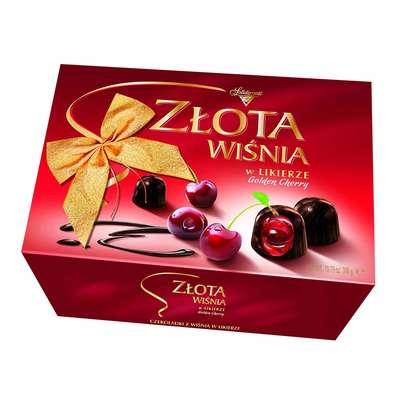 Zlota Wisnia Конфеты шоколадные с вишней в ликёре Solidarnosc коробка 306 гр, фото 1