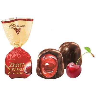 Zlota Wisnia Конфеты шоколадные с вишней в ликёре Solidarnosc коробка жесть 365 гр, фото 3