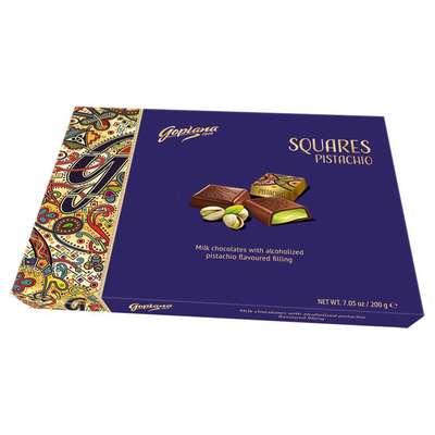 Коробка конфет с начинкой фисташка Squares Pistachio Goplana 200 гр, фото 1