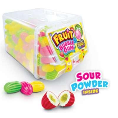 Жевательная резинка с кислой пудрой Fruit Bubble Gum Johny Bee 6 гр x 300 шт, фото 2