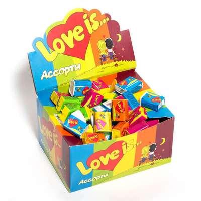 Жевательная резинка Микс Вкусов LOVE IS 4,2 гр x 100 шт, фото 1