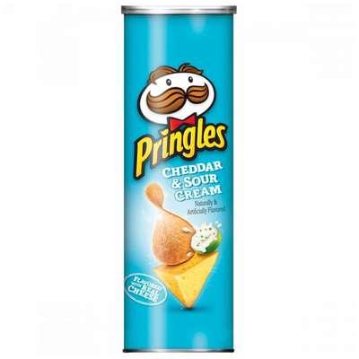 Картофельные чипсы сыр Чеддер и сметана Cheddar & Sour Cream Pringles 158 гр, фото 1