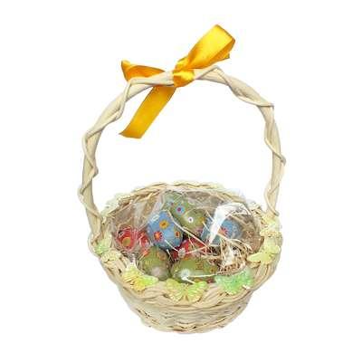 Подарочная пасхальная корзина с большими шоколадными яйцами - 3 La Suissa, фото 1