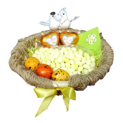 Свадебная корзина с конфетами Любовное гнездышко, фото 2