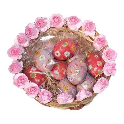 Подарочная пасхальная корзинка с шоколадными яйцами La Suissa, фото 1