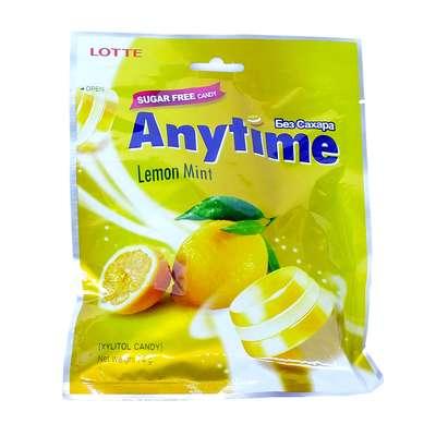 Леденцы с ксилитолом Лимон и Мята без сахара Lemon Mint Anytime Lotte 74 гр, фото 1