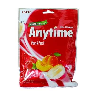 Леденцы с ксилитолом Слива и Персик без сахара Plum Peach Anytime Lotte 74 гр, фото 1