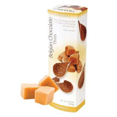 Шоколадные чипсы с карамелью Belgian Milk Chocolate Thins Caramel 80 гр, фото 1