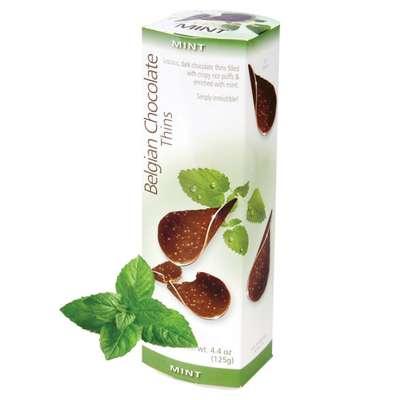 Шоколадные чипсы с мятой Belgian Choc Thins Mint 80 гр, фото 1