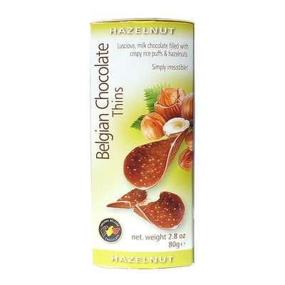 Шоколадные чипсы с орехами Belgian Milk Chocolate Thins Hazelnut 80 гр, фото 1