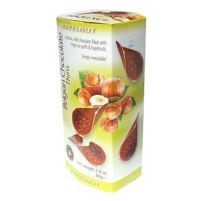Шоколадные чипсы с орехами Belgian Milk Chocolate Thins Hazelnut 80 гр, фото 2