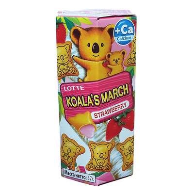 Печенье с клубнично-кремовой начинкой Koala March Strawberry Lotte 37 гр, фото 1