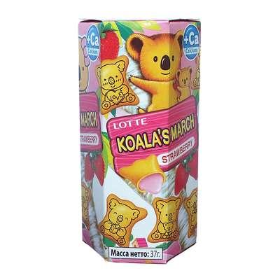 Печенье с клубнично-кремовой начинкой Koala March Strawberry Lotte 37 гр, фото 2