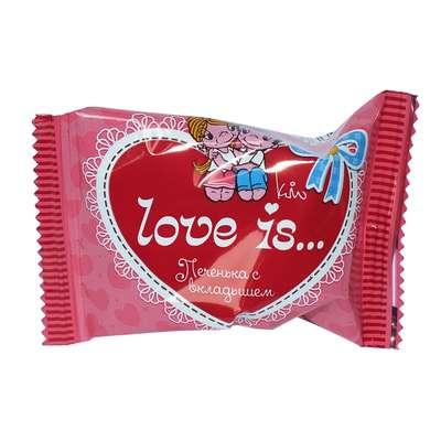 Печенье с вкладышем о дружбе и любви LOVE IS 6 гр, фото 2