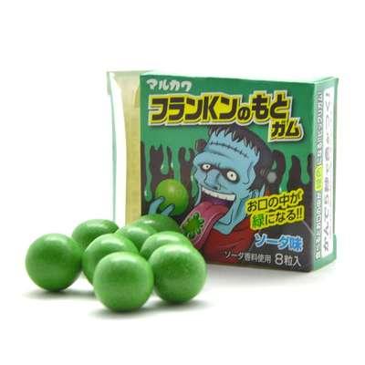 Жвачка Франкенштейн лимонад красит язык в зеленый 8 шаров Marukawa 11 гр, фото 2