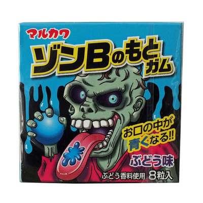 Жвачка Зомби виноград красит язык в синий 8 шаров Marukawa 11 гр, фото 2