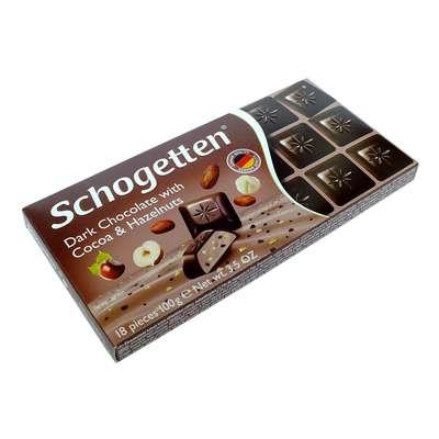 Темный шоколад с какао кремом кусочками какао и орехами Schogetten 100 гр, фото 1
