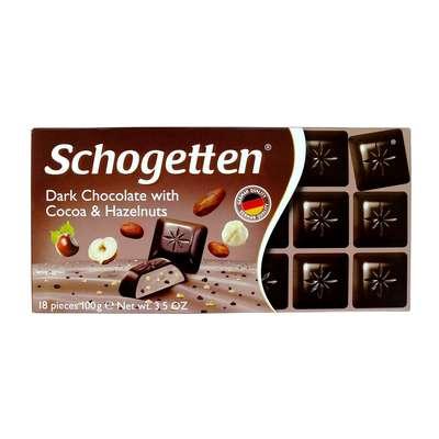 Темный шоколад с какао кремом кусочками какао и орехами Schogetten 100 гр, фото 2