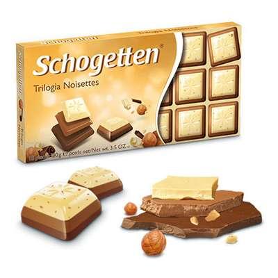 Шоколад три в одном Trilogia Noisettes Schogetten 100 гр, фото 3