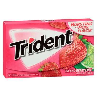 Жевательная резинка клубника и лайм Berry Lime Trident 28 гр, фото 1