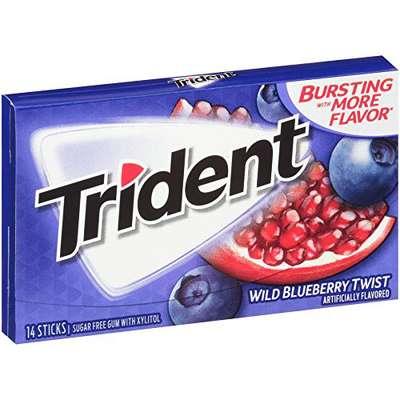 Жевательная резинка Черничный Твист Blueberry twist Trident 28 гр, фото 2
