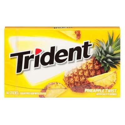 Жевательная резинка Ананасовый твист Pineapple Twist Trident 28 гр, фото 1