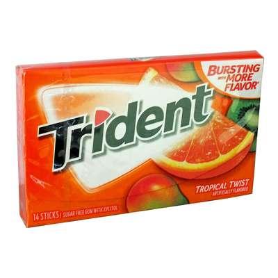 Жевательная Резинка Тропические фрукты Tropical Twist Trident 28 гр, фото 1