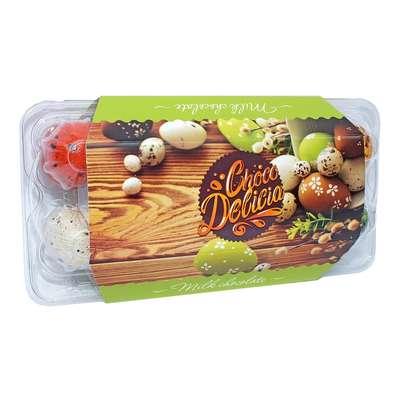 Шоколадные яйца в цветной глазури с начинкой джандуйя Choco Delicia 135 гр, фото 1
