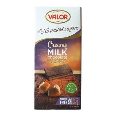 Молочный шоколад с кремом из фундука без сахара Valor 100 гр, фото 1