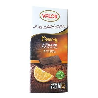 Горький шоколад 70% с апельсиновой начинкой без сахара Valor 100 гр, фото 1