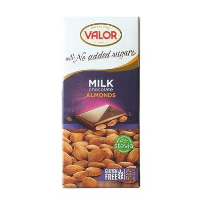 Молочный шоколад с миндалем без сахара Valor 150 гр, фото 1
