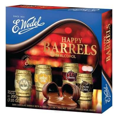 Набор шоколадных конфет с ликером Happy Barrels E.Wedel 200 гр, фото 1