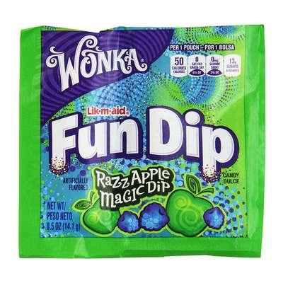 Леденец с шипучим порошком ежевика яблоко Fun Dip Wonka 12,1 гр, фото 1