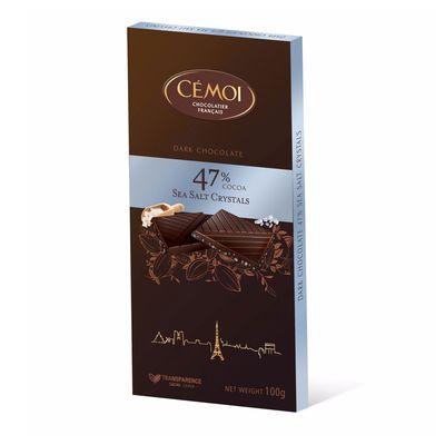 Темный шоколад 47% какао с кристаллами морской соли Cemoi 100 гр, фото 1
