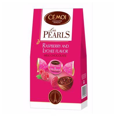 Шоколадные конфеты с начинкой малина личи Pearls Cemoi 115 гр, фото 1